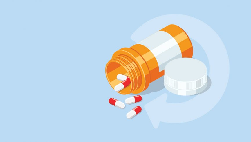 Repeat button and pills spilling out of a prescription bottle to symbolize take back day
