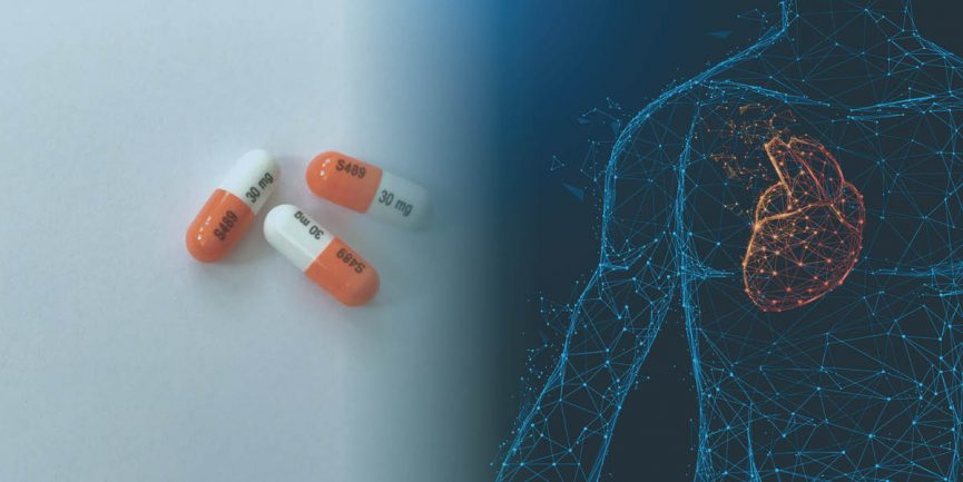Vyvanse pills next to an illustration of the human body and heart to show its effects